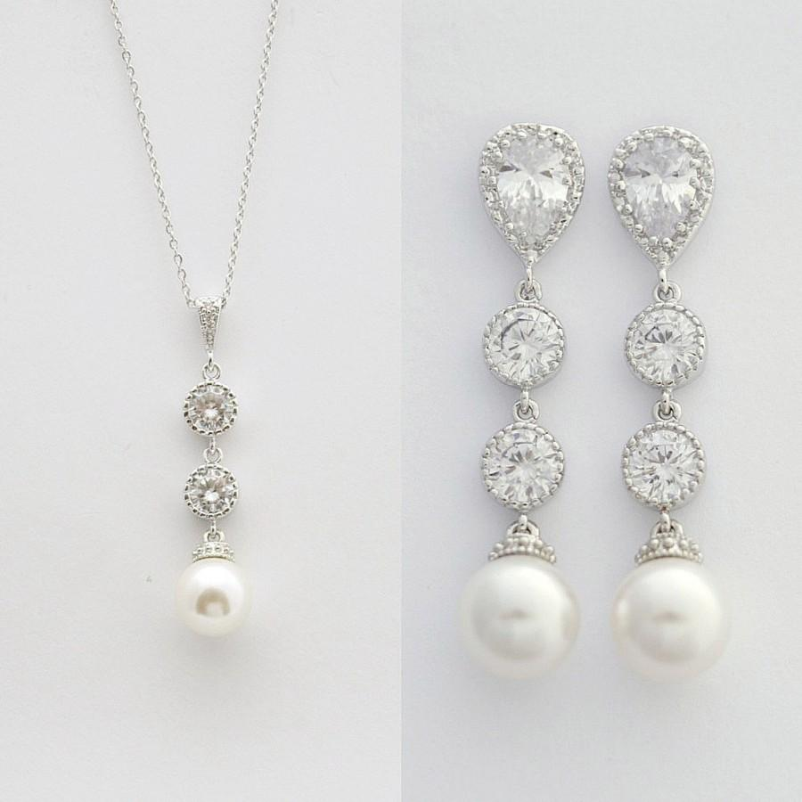 Bridal Pearl Jewelry Set Wedding Earrings And Necklace Swarovski Kaitlyn