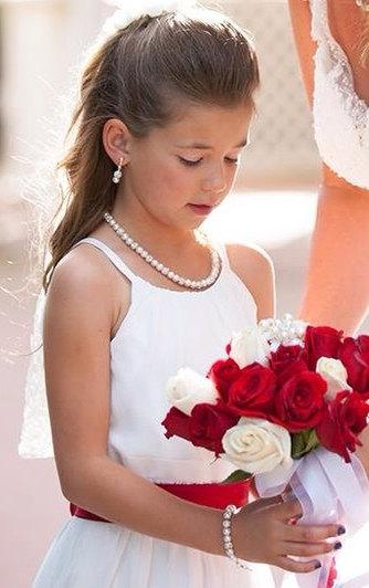 Wedding - Flower Girl Jewelry Set Bridal Pearls Junior Bridesmaid Jewelry Child Pearl Necklace Vintage Style Pearl Necklace Clip On orPierced Earrings