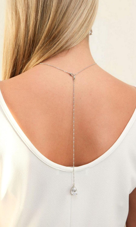 زفاف - Bridal Backdrop Necklace, Crystal Wedding necklace, Back drop Necklace, Wedding Jewelry,crystal backdrop necklace bracelet earrings set