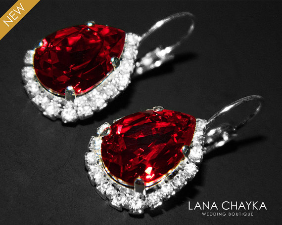 Red Crystal Halo Earrings Swarovski Siam Rhinestone Leverback Wedding Dark Sparkly Bridal Jewelry