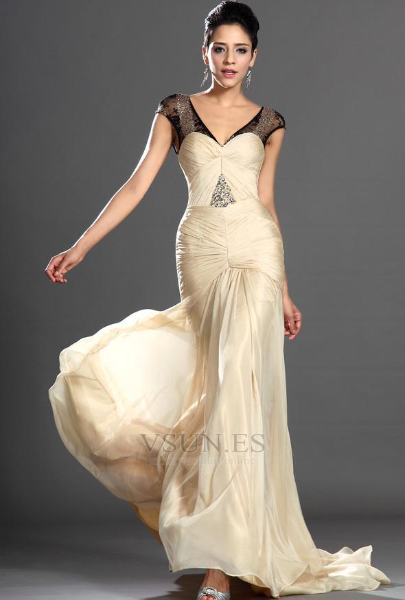 Wedding - Vestido de madrina Cintura Baja Delgado Transparente champán Cola Barriba