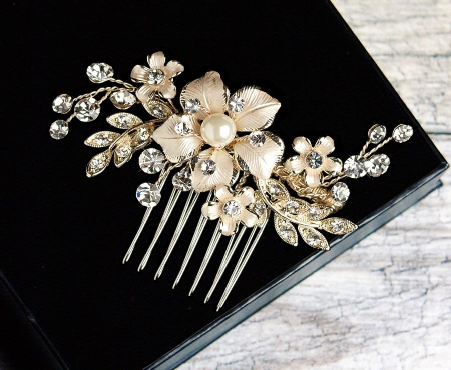 Pearl Hair Comb Crystal Bridal Wedding Headpiece Jewelry Silver Gold