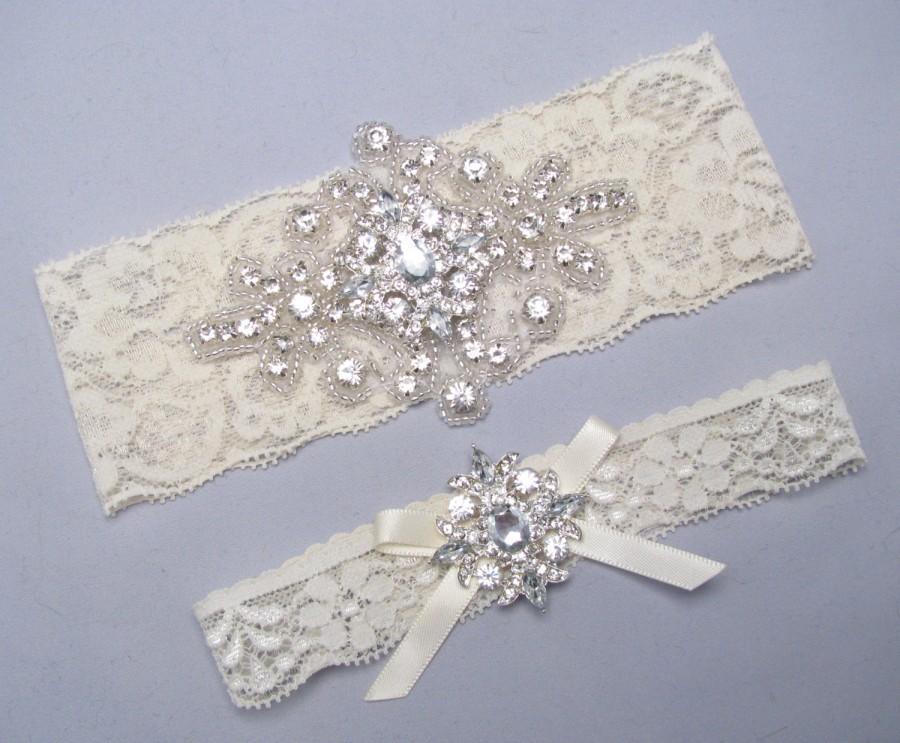 Hochzeit - Ivory or White Lace Bridal Garter Set, Something Blue Wedding Garter, Crystal Rhinestone Keepsake and Toss Heirloom Garter Set