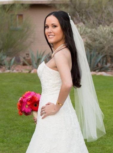 Hochzeit - Fingertip Wedding Veil, 36 Inch Illusion Veil, One Tier Wedding Veil, Embellished Comb, Wedding Veil