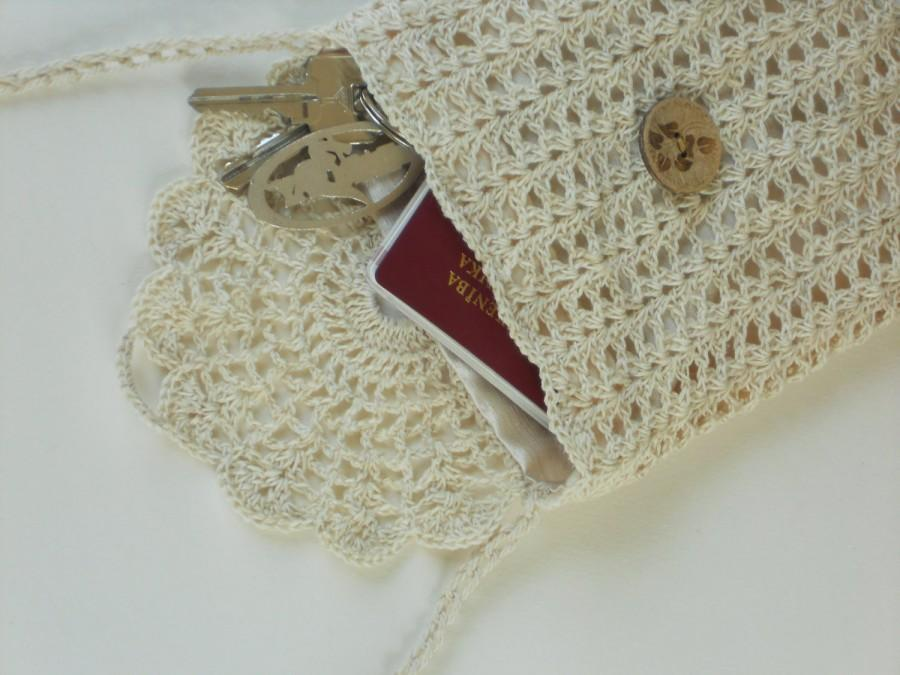 زفاف - Ivory linen purse crochet lace bag for rustic wedding natural flax wallet small travellers bag