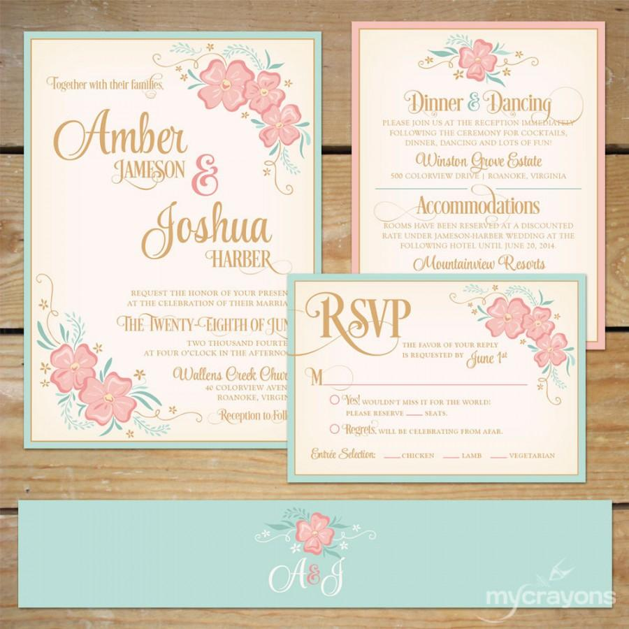 Hochzeit - Printable Floral Wedding Invitation Suite // DIY Wedding Invite // Mint and Peach // Floral Wedding Invite, Mint and Pink Wedding
