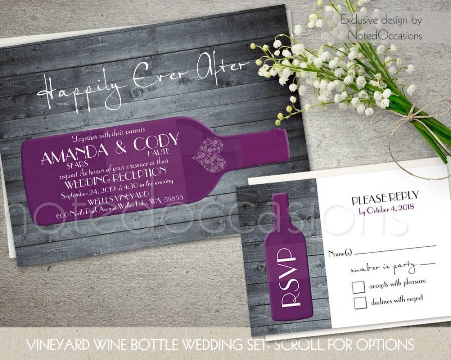 Mariage - Vineyard Wedding Invitations- Rustic Wine Country Wedding Invitations - CHOOSE Color - Wine country Wine Bottle Wood Grain Digital Printable