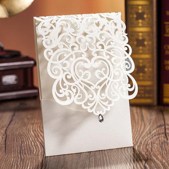 Mariage - SAMPLE - Glamour Wedding Invitation, Diamond Embellishment Wedding Invitation, Lace Wedding Invitation, White Wedding Invitation