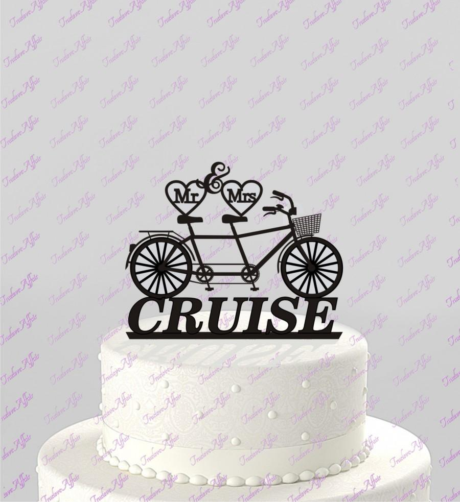 Bicycle For Two Wedding Cake Topper, Mr & Mrs Personalized With Last ...