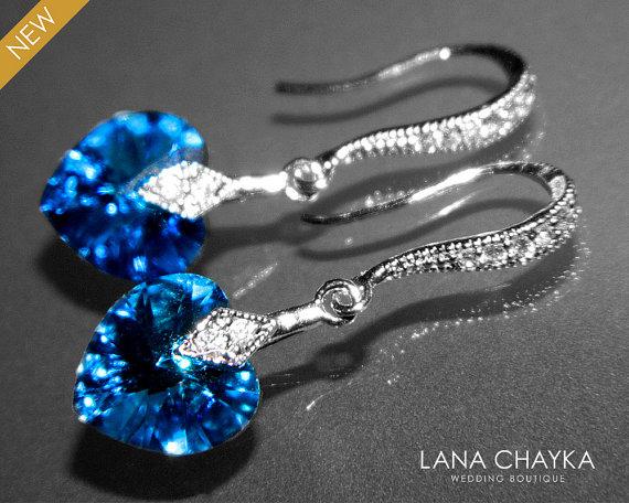Bermuda Blue Heart Crystal Earrings Pea Cz Silver Small Swarovski Wedding Earring Bridesmaids