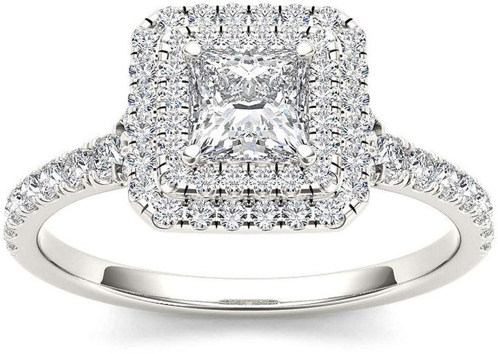 MODERN BRIDE 1 CT. T.W. Diamond 14K White Gold Framed Engagement ...