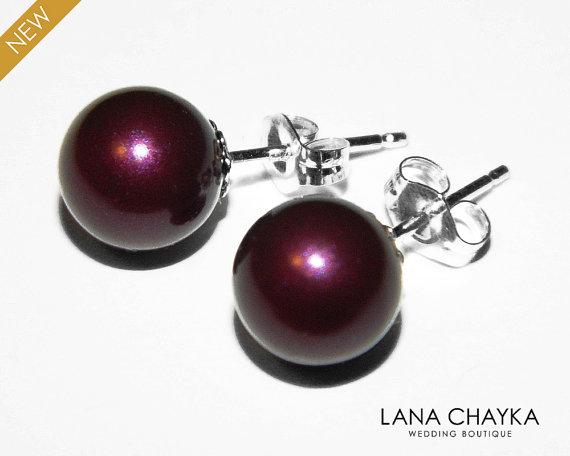 Blackberry Pearl Stud Earrings Sterling Silver 8mm Purple Swarovski Studs Wedding Jewelry Bridesmaid