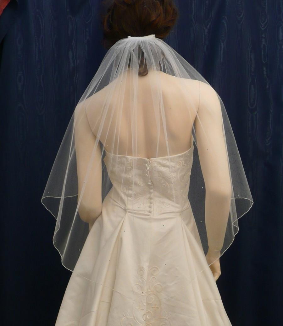 Hochzeit - Elbow length  wedding veil Angel Cut  Veil sprinkled with Swarovski Rhinestones