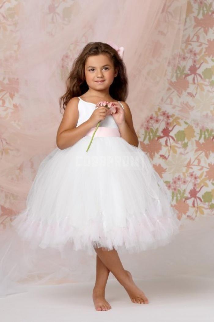 Wedding - Spaghetti Straps Tulle Ribbon Knee-length Flower Girl Dress