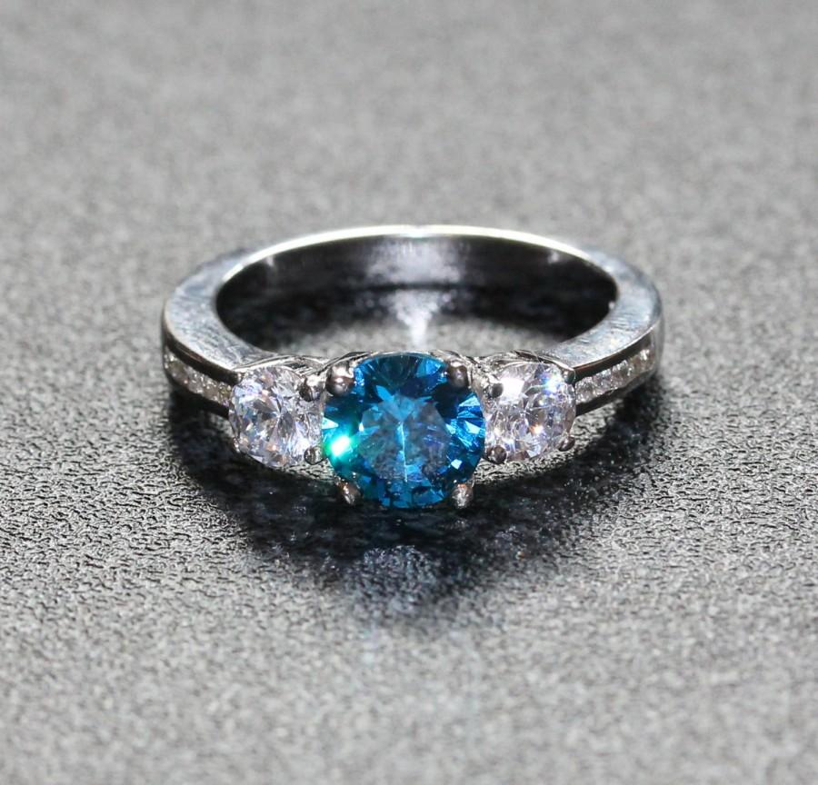 Свадьба - Natural London Blue Topaz and White sapphire Solid Sterling silver Trilogy ring - engagement ring - wedding ring