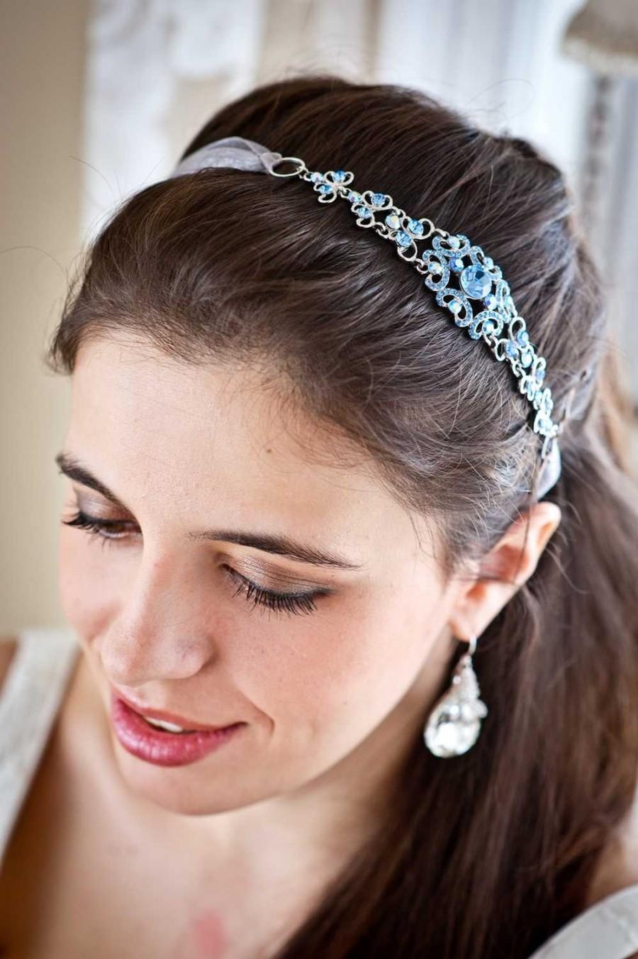 Hochzeit - Crystal Headband - Crystal Headpiece - Wedding Headpiece - Wedding Headband - Something Bue - Bridal Headpiece - Prom Headband - SOPHIA