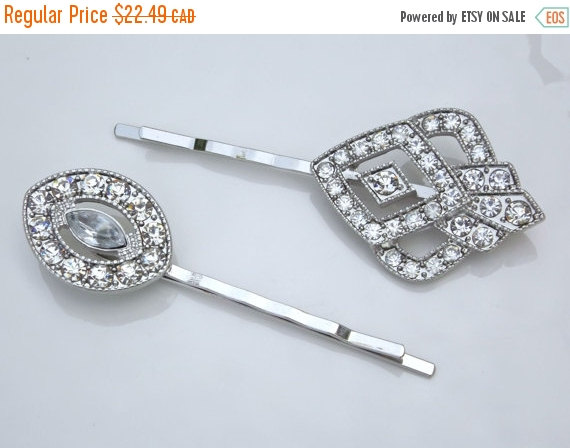 Mariage - EASTER SALE 2 Pcs Vintage Wedding Gatsby Crystal Hair Pins Barettes Bridal Hair Jewelry Art Deco Geometric Bobby Pins Hair Clips 1920s Downt