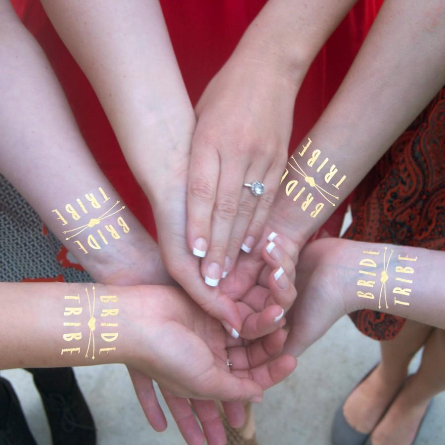 زفاف - Bride Tribe Gold Temporary Tattoos, 15 Individually Packaged Bachelorette Party Favors, Flash Tatts,  Incl. 1 Bride Tattoo