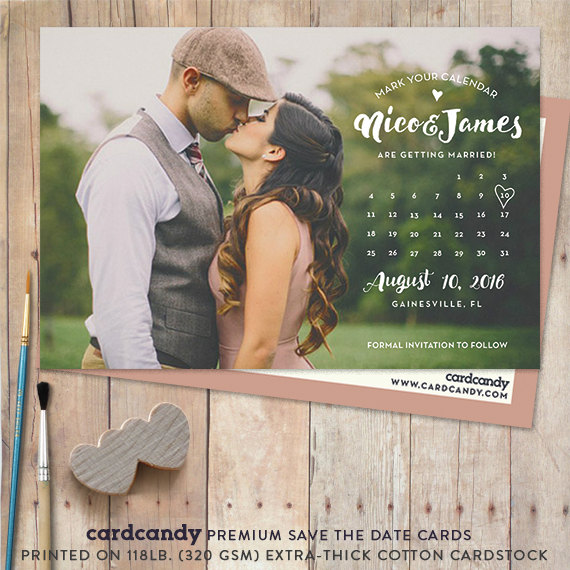Mariage - Calendar Save-The-Date Card, Save The Date Postcard, Save The Date Magnet, save the date post card, calendar, magnet - NICO