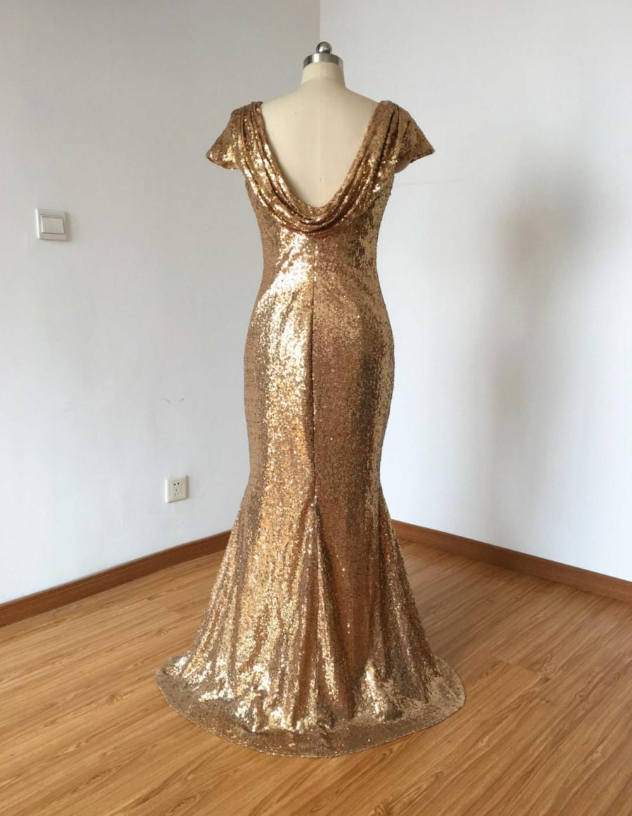 Cap sleeves champagne gold sequin long bridesmaid dress 2482988 cap sleeves champagne gold sequin long bridesmaid dress ombrellifo Images