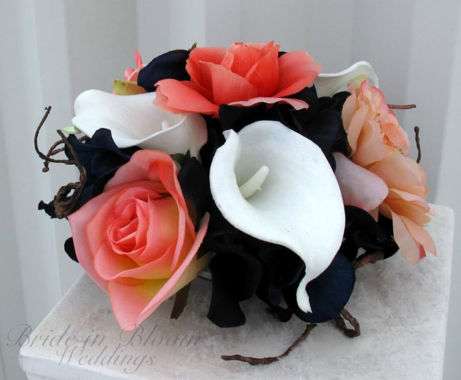 Mariage - Cake topper 5 piece Wedding cake topper set coral navy blue Cake flowers