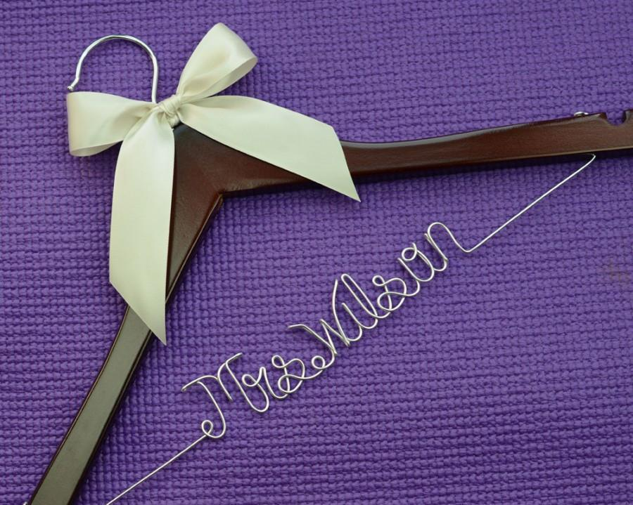 Mrs and name hanger wedding hanger personalized custom for Mrs hangers wedding dress