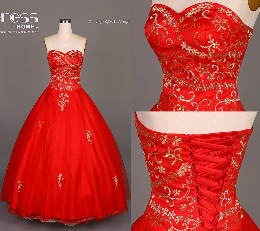 Unique Red A Line Embroidery Wedding Gown/Red Sweetheart Bridal ...