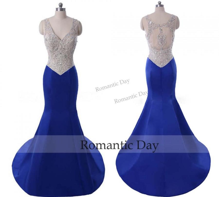 Wedding - 2016 Royal Blue Dress Mermaid Prom Party Dresses Evening Gowns Beaded Crystal Formal Gown 0527