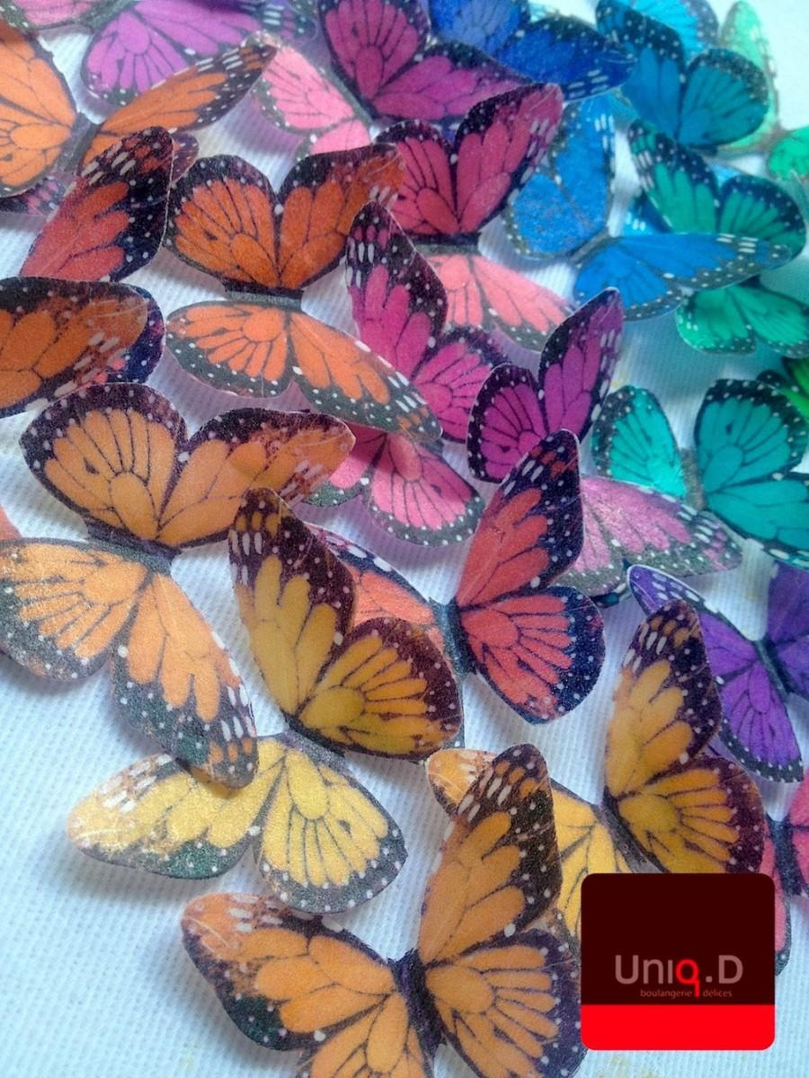 Hochzeit - 24 rainbow butterflies - wedding butterflies favors - cake decoration - edible RAINBOW butterflies by Uniqdots on Etsy
