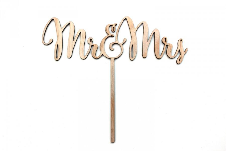 Hochzeit - Wooden Mr and Mrs Cake Topper Rustic Natural