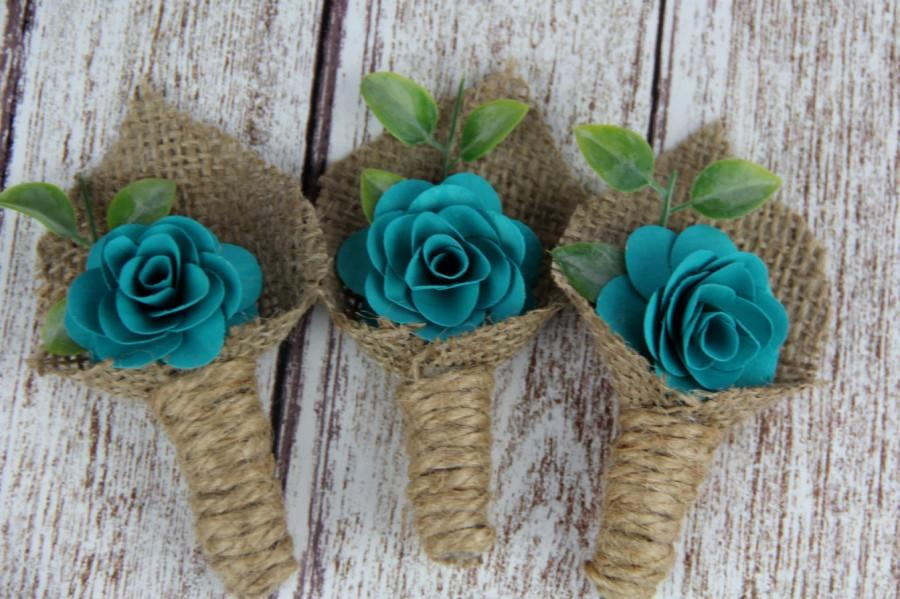 Mariage - Dark Turquoise Boutonniere, Rustic Boutonniere
