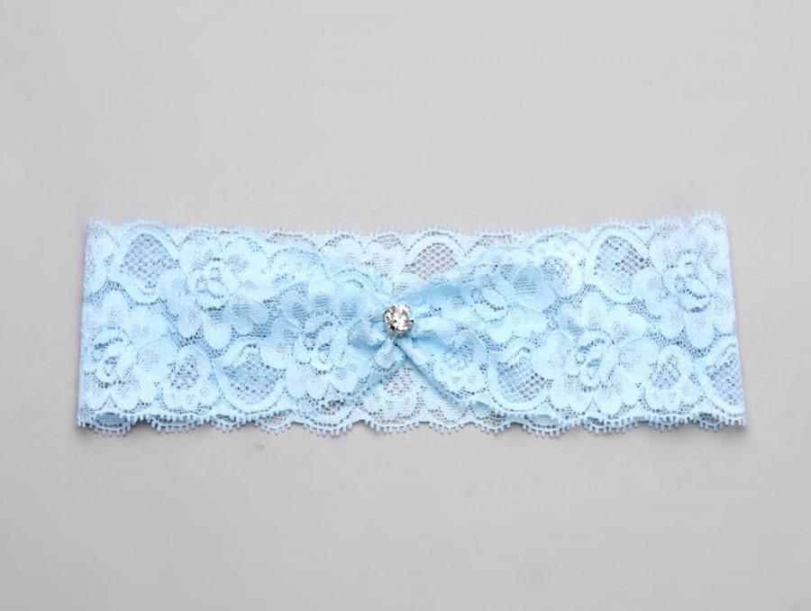 Свадьба - Wedding crystal garter, something blue bridal garter - style #488