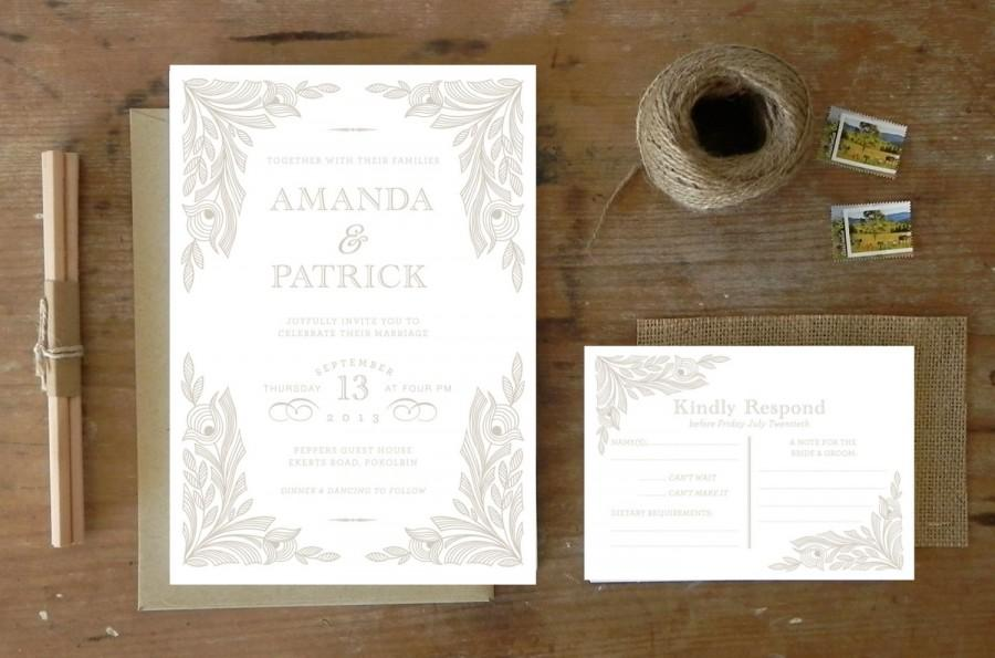 "Mariage - DIY Printable Wedding Invitation & Response Postcard ""Antique Lace"""