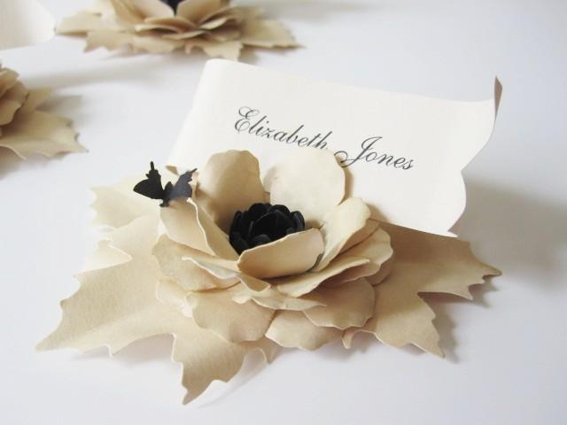 5 Handmade Paper Flower Place Cards With Butterfly 2483178 Weddbook