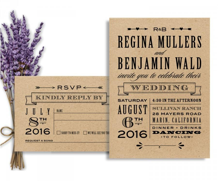 Rustic Wedding Suite, DIY Wedding Invitation, Printable Wedding ...