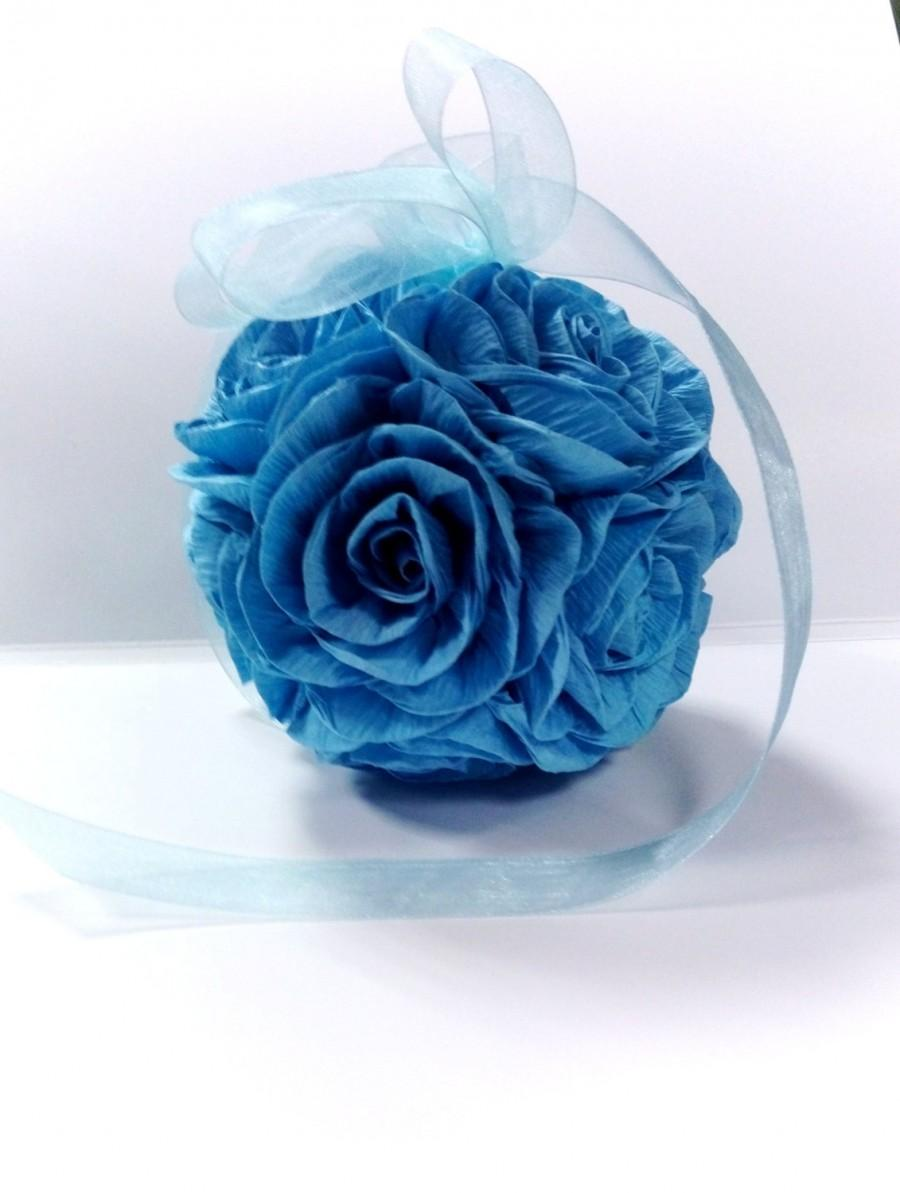 Royal Navy Aqua Blue Hanging Crepe Paper Flower Ball Kissing Ball