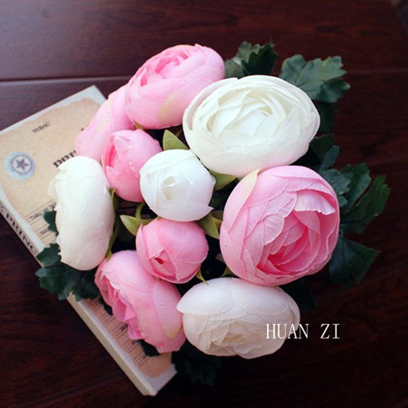 Mariage - Peony Rose Bouquet Artificial Silk Flowers Posy Wedding Bridal Party Home Floral Decor