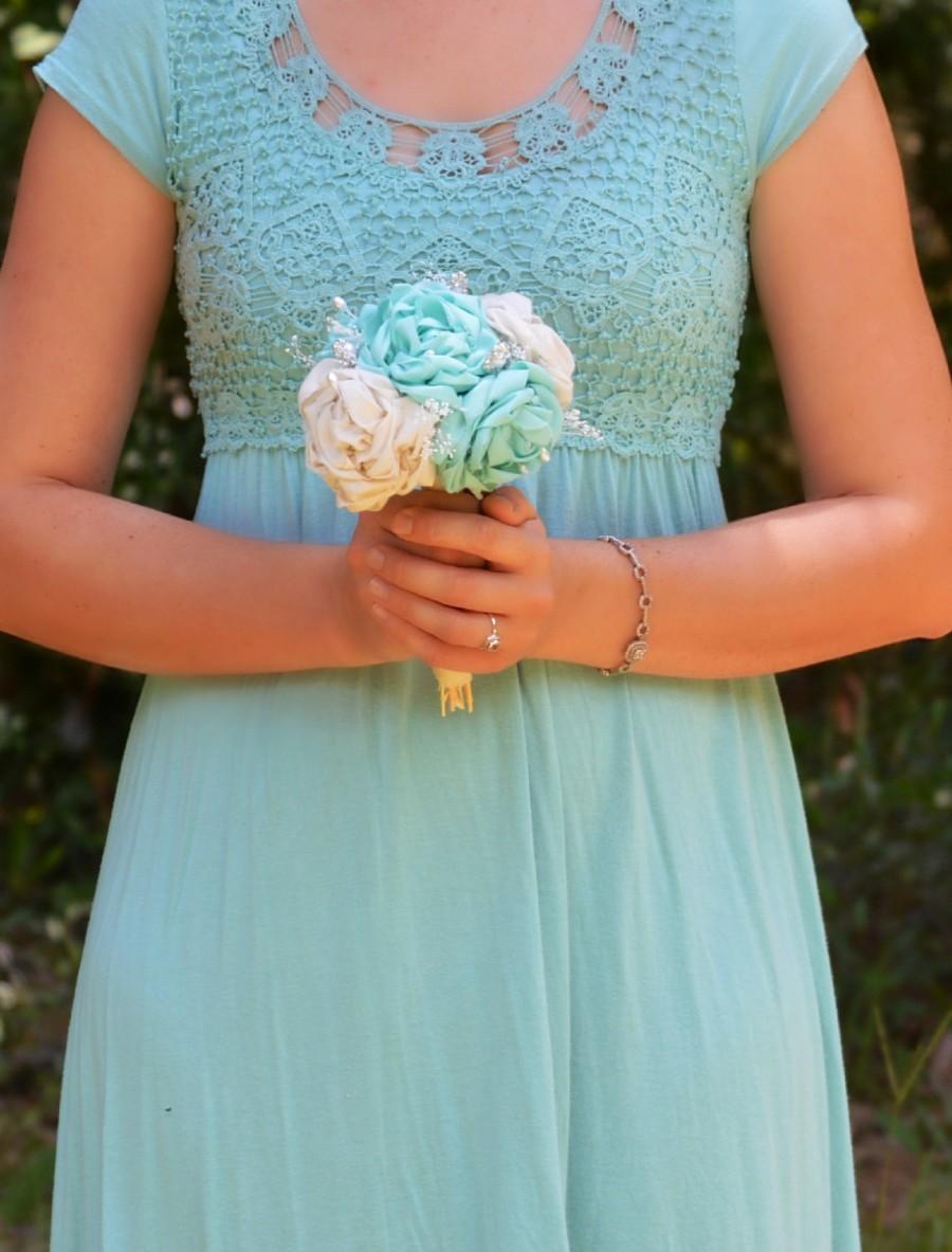 Aqua Wedding Bouquet Turquoise Blue Flowers Toss Bridesmaid Bridal Rustic Chic Beach