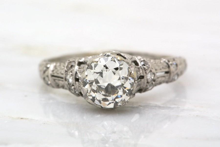 Hochzeit - Antique 1.00ctw Edwardian Platinum Engagement Ring with .85ct Old European Cut Diamond; Filigree; Engraving; Pave; R135