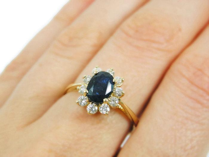 Mariage - Royal engagement ring- Sapphire Diamonds yellow gold ring  (r-11960w). romantic unique gift for her