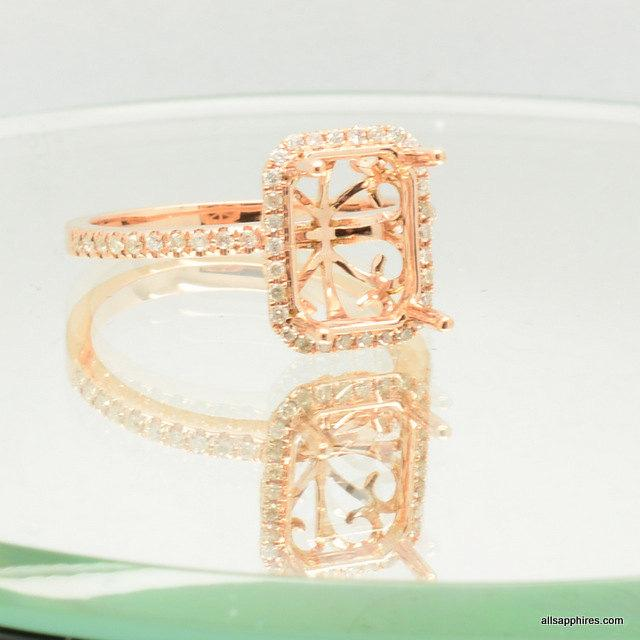 Mariage - Semi mount gold ring, here in rose gold engagement ring, diamonds engagement ring JOAN,  setting only