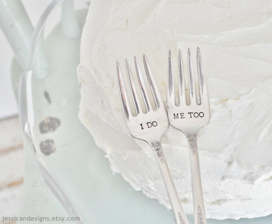 Hochzeit - I DO, ME TOO Vintage Wedding Cake Forks (Matching Set)