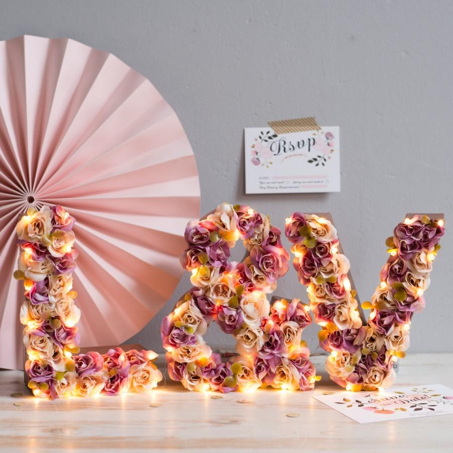 light up flower marquee initial lights for your wedding flower letters lighted letters marquee letters - Lighted Marquee Letters