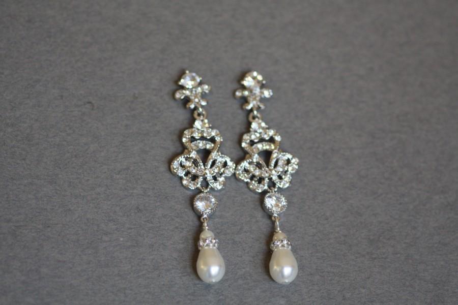 Wedding - Swarovski Bridal Earrings, Pearl Chandelier Earrings, , Crystal earrings, Wedding Jewelry,Pearl earrings , Knot earrings,