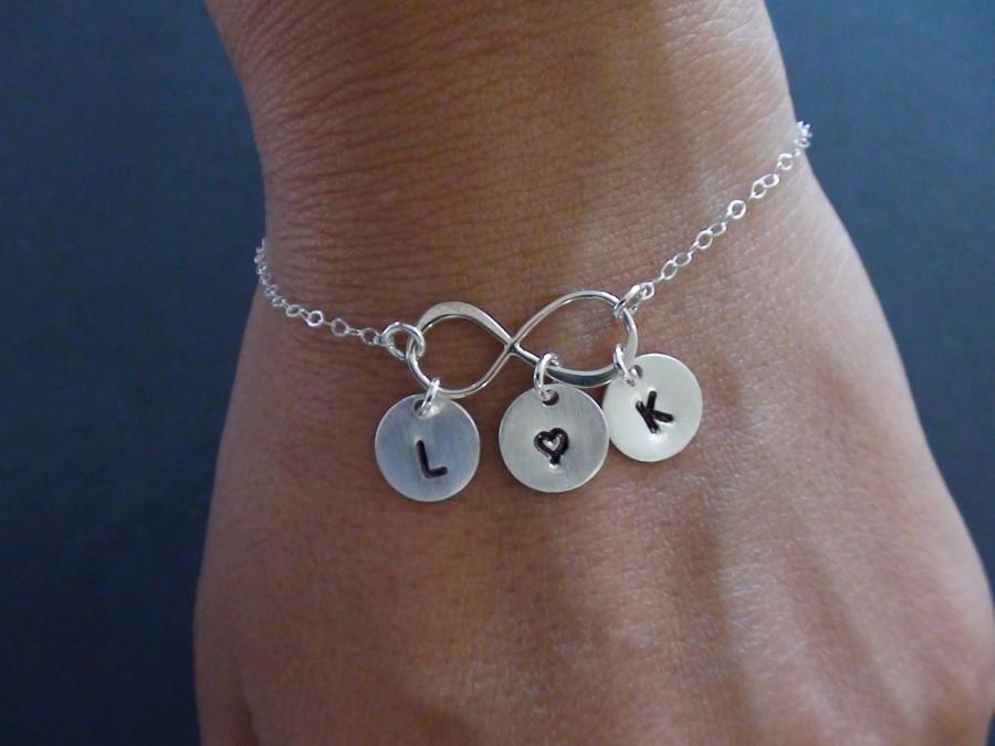 Свадьба - 10% Off--Personalized Initial Bracelet, Sterling Silver Infinity Bracelet, Friendship bracelet, Family Bracelet, mother's jewelry
