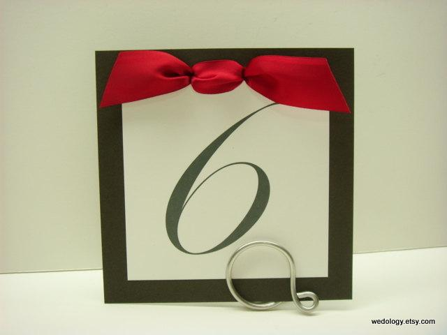 Mariage - Wedding Table Numbers Layered 5x5 Square Shape with an Elegant Satin Bow Prepared in all of my Colors for Your Wedding Reception Decoration