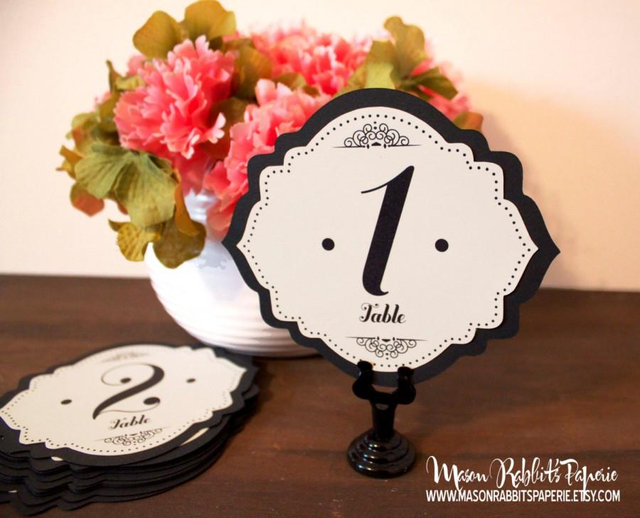 زفاف - Betty Wedding Table Number Set - Black & Cream