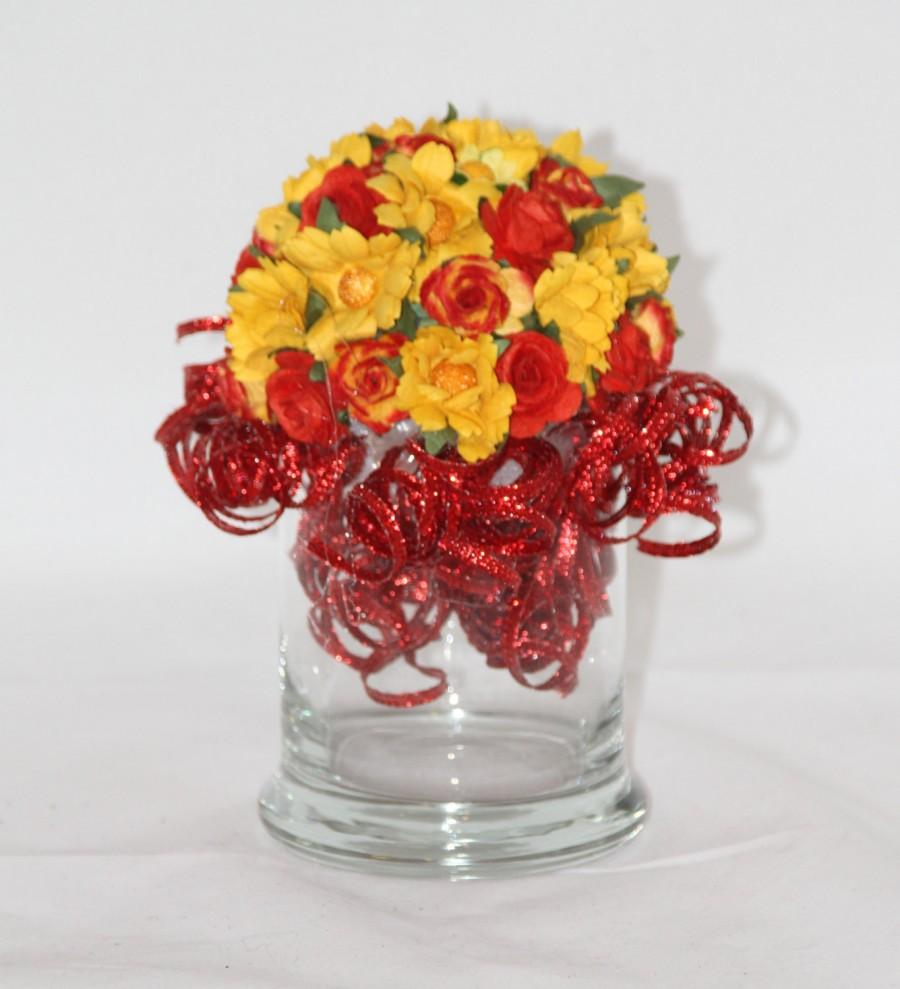زفاف - Red and Yellow Paper Flower Arrangement - Gifts for her - Romantic Gift - Yellow Daisies - Red Roses - Valentines Day - Party Centerpiece