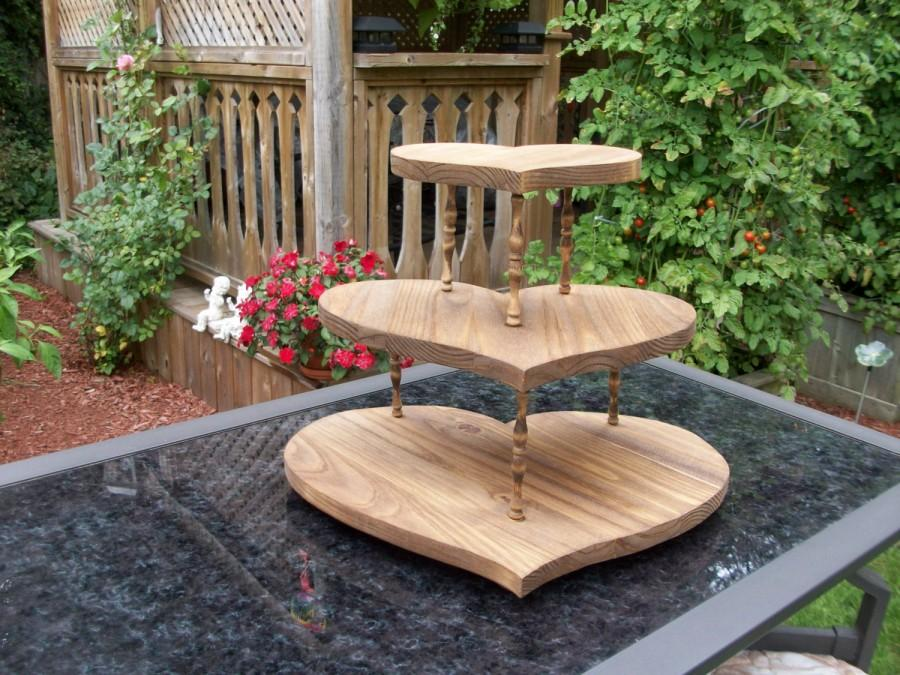 Rustic Wooden Wedding Cupcake Stand / Wedding Cake Stand/Heart ...