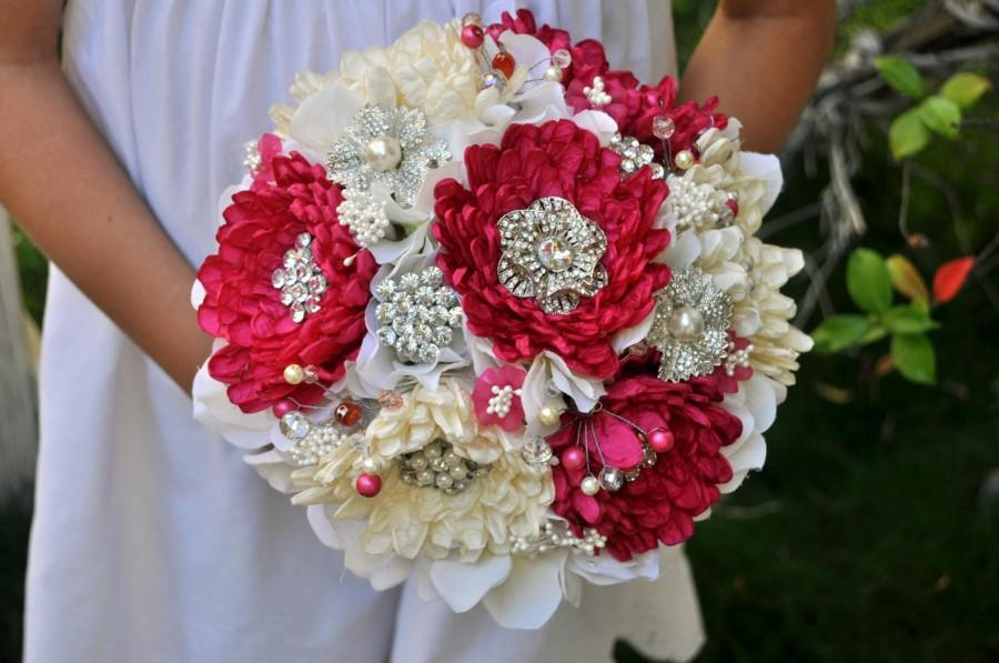 Ready To Ship Couture Dahlias In Cream And Fuchsia Bouquet Plus Boutonniere Brooch Wedding Bridal 7inches